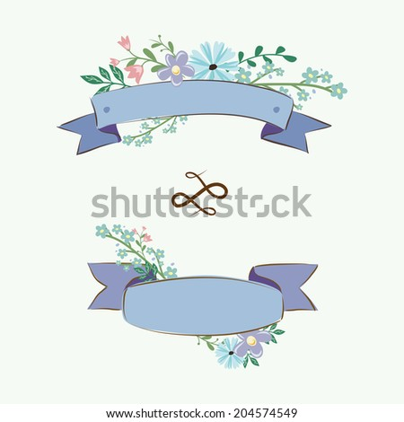 Floral collection for wedding. Set of vintage flowers - stock vector