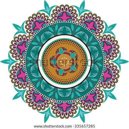Floral color patterns in a circle - stock vector