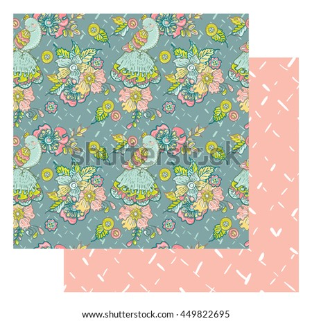 Floral colorful Card with  bird, beautiful doodle background, seamless pattern for design, Vector - stock vector