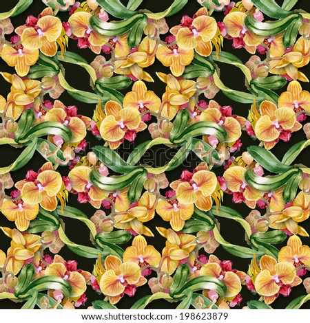 Floral colorful flowers pattern on black background vector - stock vector