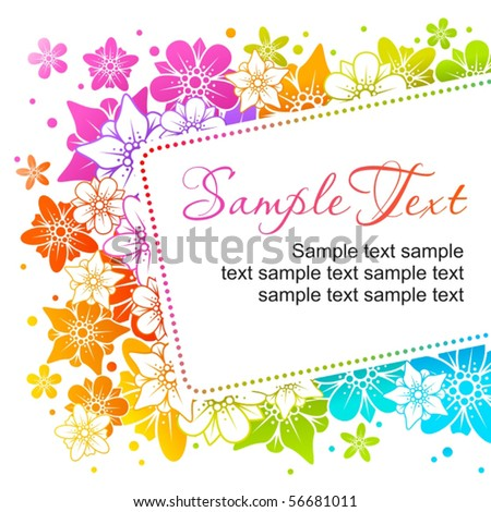 Floral colorful frame 6 - stock vector