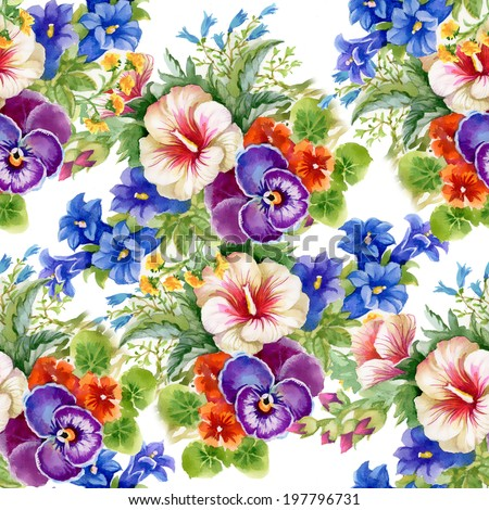 Floral colorful mallow flowers pattern on white background vector - stock vector