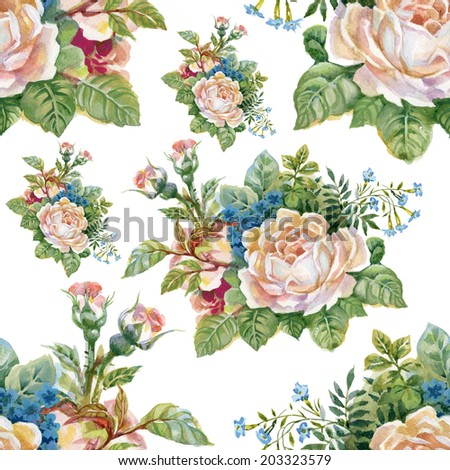 Floral colorful roses flowers seamless pattern on white background vector - stock vector