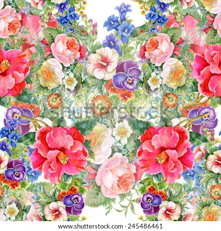 Floral colorful spring flowers seamless pattern on white background vector illustration - stock vector