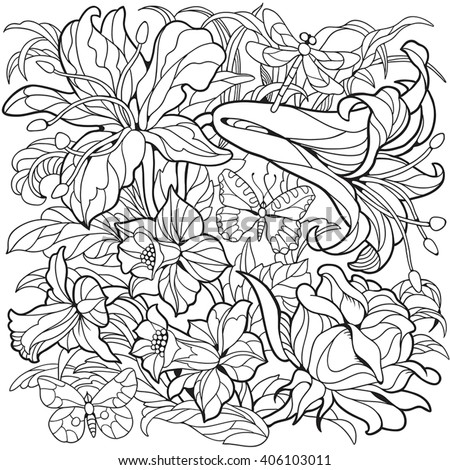 Floral Coloring Page Narcissus Flower Rose Lily And Butterflies