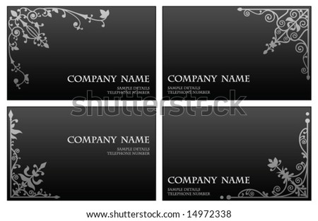 Floral corner business card set - stock vector
