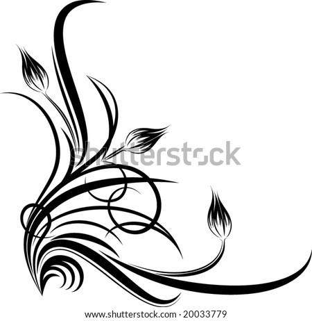 Floral corner. Vector illustration. - stock vector