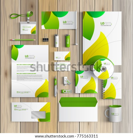 Floral corporate identity template design with green leaves. Business stationery