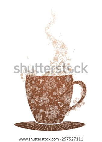 Floral cup. Cup of tea/coffee with linear floral swirls. Hot stream of flowers and butterflies. - stock vector