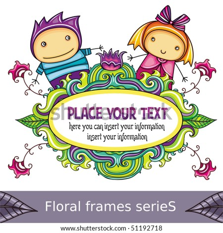 Floral curly frame with cute boy and girl (floral series) - stock vector