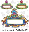 Floral curly frames (floral series) - stock vector