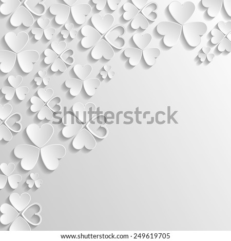 Floral 3d Pattern with Clovers. Vector Background for St. Patrick's Day Greetings, Invitations and Posters. - stock vector