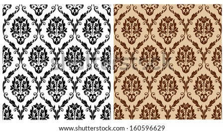 Floral damask pattern for background or wallpaper design. Jpeg version also available in gallery