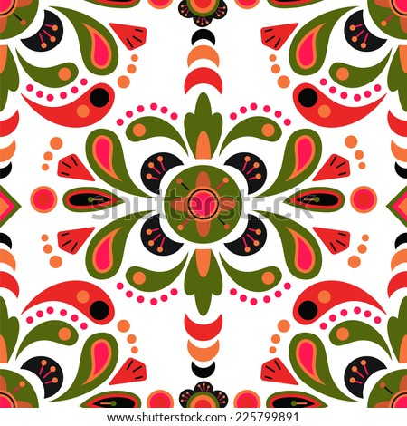 Floral damask seamless pattern background, mexican colorful ornament, VECTOR - stock vector
