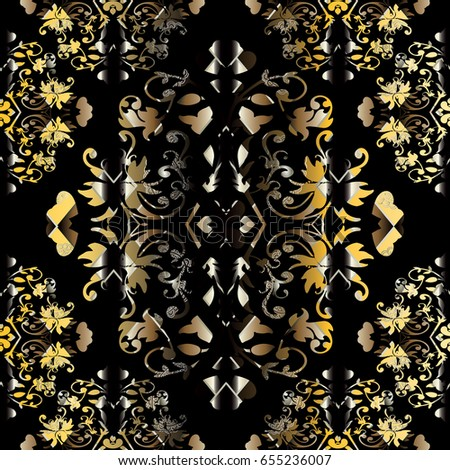 Black Background Wallpaper Illustration With Antique Decorative White Gold Flowers