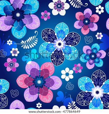 Floral dark blue seamless spring pattern with vintage flowers and butterflies, vector EPS 10
