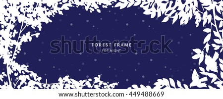 Floral dark blue white greeting card background with trees, plants, birds. Nature frame. Trendy design template for wedding,congratulations, events, invitations for all holidays.  Vector illustration.