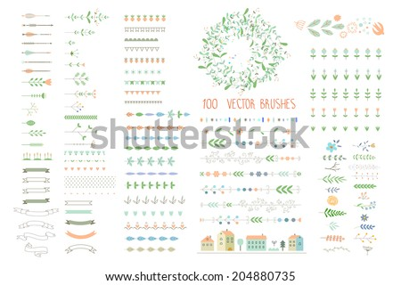 Floral decor set. 100 different vector brushes and decor elements. Isolated. - stock vector