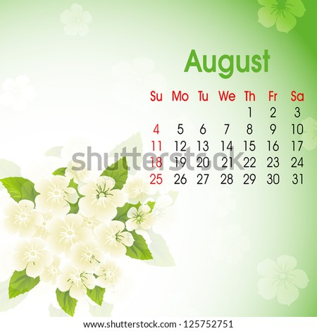 Floral decorated, August month calender 2013. EPS 10.