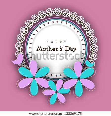 Floral decorated background for Happy Mothers Day. - stock vector