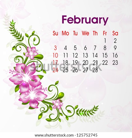 Floral decorated, February month calender 2013. EPS 10.