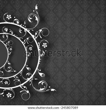 Floral decorated frame on seamless black background. - stock vector