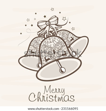 Floral decorated jingle bells for Merry Christmas celebration on beige background. - stock vector