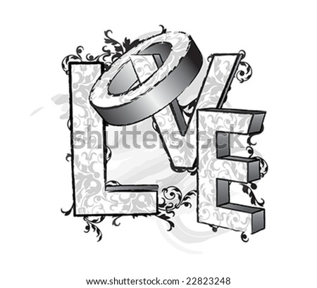 Floral-decorated LOVE letters in black and white