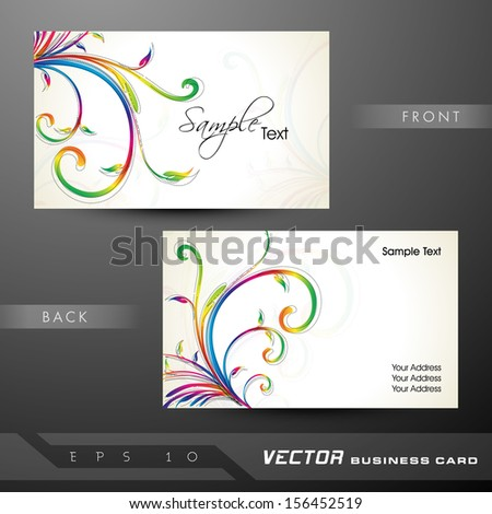 Floral decorated professional and designer business card set or visiting card set. EPS 10.  - stock vector