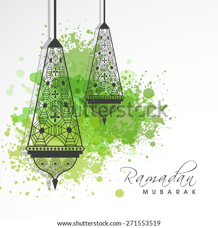 Floral decorated traditional arabic lamps or lanterns with green color splash for holy month of muslim community, Ramadan Kareem celebration. - stock vector