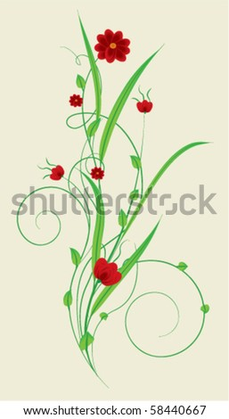 floral decoration - stock vector