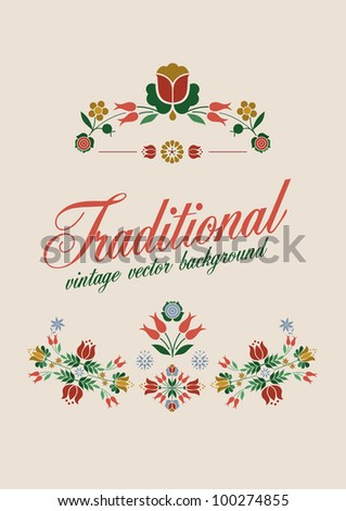 Floral Decoration Elements Stylized Traditional Flowers vector retro style - stock vector