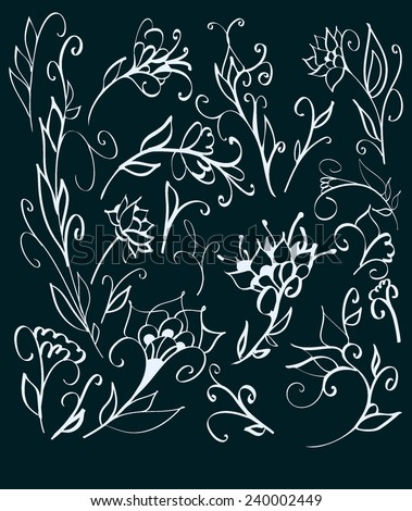 Floral decorative elements hand drawn