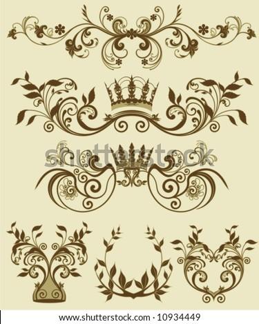 floral decorative patterns in stiletto baroque and rococo - stock vector