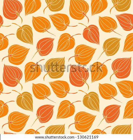 Floral decorative seamless pattern. Vintage cute background with flowers. Hand drawn fabric texture with winter cherry - stock vector