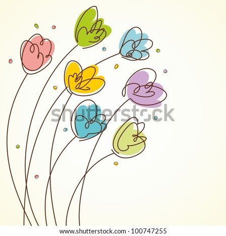 Floral Design card. Spring tulips. Vector illustration with hand-drawn design. - stock vector