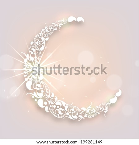 Floral design decorated crescent moon on shiny background for holy month of Muslim community Ramadan Kareem.  - stock vector