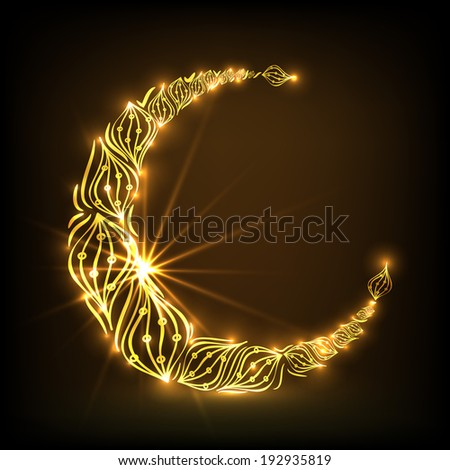 Floral design decorated golden crescent moon on brown background, beautiful greeting card design for muslim community holy month of Ramadan Kareem. - stock vector