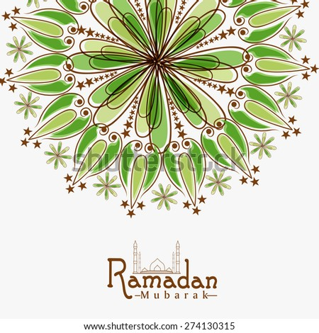 Floral design decorated greeting card for Islamic holy month of prayer, Ramadan Kareem celebration. - stock vector