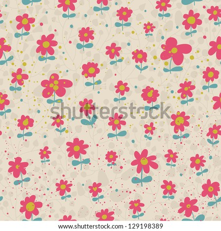 Floral design element in vector. Seamless pattern in retro colors - stock vector