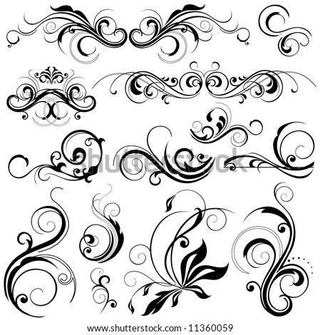 floral design elements - stock vector