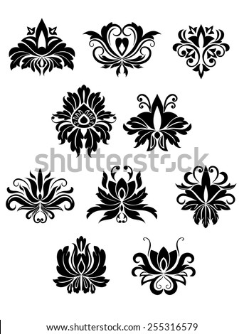 Floral design elements and flowers set in retro style for ornate and decoration - stock vector