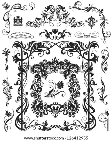 Floral design elements and frame - stock vector