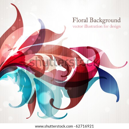 Floral design elements. Flower abstract background for design with scroll leafs. Vector. eps 10. - stock vector