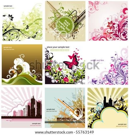 floral design elements set - stock vector