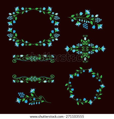 Floral design elements set, ornamental frames. Page decoration. Vector illustration. Isolated on brown background. Can use for birthday card, wedding invitations.  - stock vector