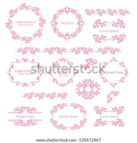 Floral design elements set ornamental vintage stock vector floral design elements set ornamental vintage frames borders in pink color page decoration junglespirit Image collections