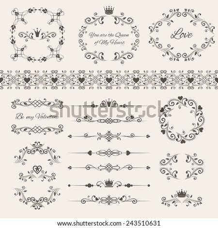 Floral design elements set, ornamental vintage frames with crowns and hearts. Page decoration isolated on beige. Vector illustration. Can use for birthday and valentines card, wedding invitations...  - stock vector
