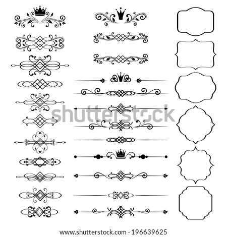 Floral design elements set, ornamental vintage frames with crowns in black color. Page decoration. Vector illustration. Isolated on white background. Can use for birthday card, wedding invitations.  - stock vector