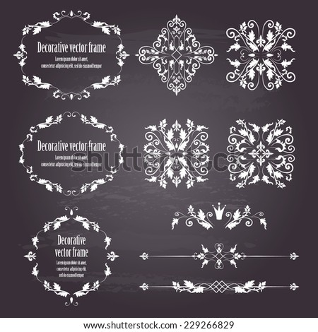 Floral design elements set , ornamental vintage objects, frames and dividers in white. Vector editable illustration. Isolated on chalkboard background. Can use for birthday card, wedding invitations.  - stock vector